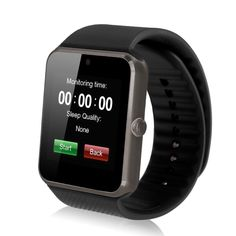 """SinoPro GT08 Bluetooth Smart Watch with Camera, SIM Card Slot and TF Card for Smartphones - Black. Receive notifications on your wrist, including caller id, texts and emails and other notifications. Appearance vogue and extreme thin, thickness of the whole match 11.8mm. Beautiful 1.54"""" LCD 2.5d radian capacitive touch screen with high resolution, anti-sweating frosted surface treatment. Anti-lost, nfc, remote capture, health management, pedometer, sleep monitor, sedentary reminder…"""