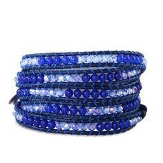 Chen Rai Shade of Blue Beads Long Wrap Bracelet #chenrai #blue #beads #wrapbracelets