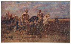 """The Night Advance"" interlocking wooden jigsaw Pastime Puzzle by Parker Brothers, Incorporated, circa 1915. Puzzles were a common family activity for the Hill family. Collection of the Minnesota Historical Society. On display in the Library of the James J. Hill House."