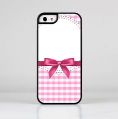 The Pink and White Plaid with Lace and Ribbon Skin-Sert for the Apple iPhone 5-5s Skin-Sert Case