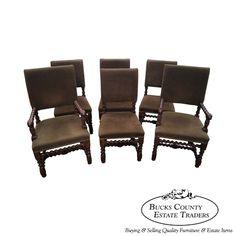 Henredon Vintage Set of 6 Oak Barley Twist Dining Chairs #Jacobean