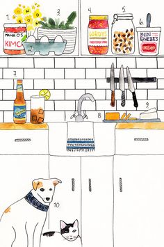 Kitchen illustration Dog & Cat Camille Styles - an interview with Julia Art And Illustration, Illustrations And Posters, Watercolor Illustration, Op Art, Photo Humour, Kitchen Art, Kitchen Drawing, Sketches, Art Prints