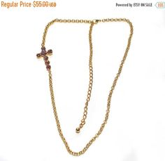 ON SALE Cross Necklace, Swarovski Crytal Cross, Pink Crystal Cross, Cross Connector, Link Chain, Gold Cross Necklace, Adjustable Necklace, G