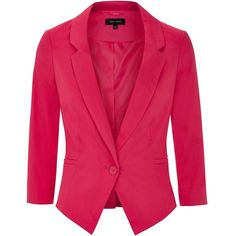 Bright Pink Slim Fit Single Button Blazer (£15) ❤ liked on Polyvore featuring outerwear, jackets, blazers, coats, slim fit blazer, pink jacket, one button blazer, slim fit jackets and pink blazer