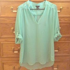 Mint Sheer High-Low Top with Lace Detail *Reposh* Super adorable sheer top with button/roll-up sleeves and lace detail near shoulders. Mint color. In good condition just doesn't fit. Prices are negotiable and there's an automatic 20% bundle discount for my closet for 3+ items! Rue 21 Tops Blouses