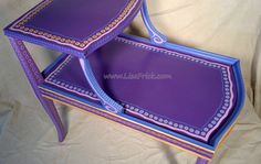 SOLD sample of CUSTOM WORK Two Tier Purple Side Table by LisaFrick