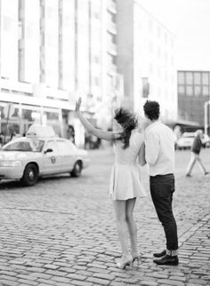 Engagement on the streets of New York Photography by KT Merry Photography / ktmerry.com, Hair   Makeup by Antoine Brechu / antoinebrechu.com/