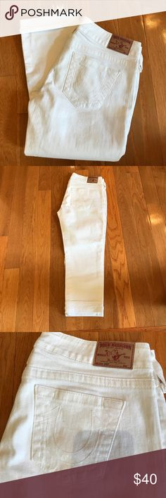 True Religion White Jeans True Religion White Jean cuffed Capris. Style Lizzy. Worn once. Perfect Condition. True Religion Jeans Ankle & Cropped