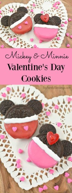 Mickey + Minnie Valentine's Day cookies - Super cute Valentine Mickey and Minnie Cookes. Easy and fun Valentines dessert your Disney loving k - Valentine Desserts, Valentines Day Cookies, Family Valentines Dinner, Disney Valentines, Valentines Day Treats, Best Dessert Recipes, Fun Desserts, Dessert Ideas, Friends Cake