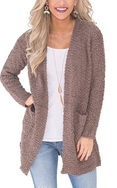 4643786b85 ECOWISH Womens Casual Light Weight Open Front Long Sleeve Solid Knit  Sweater Cardigan With Pockets Gray02