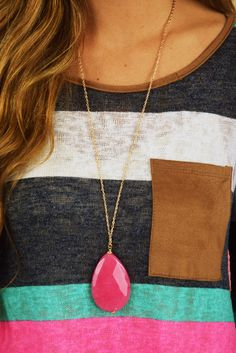 Stone Cold Necklace: Pink