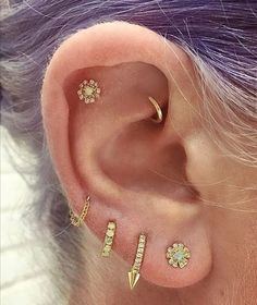 """2,766 Likes, 79 Comments - Maria Tash (@maria_tash) on Instagram: """"A yellow gold, diamond and opal #earparty. Maria Tash jewelry is now available @ylang23 in Dallas!…"""""""