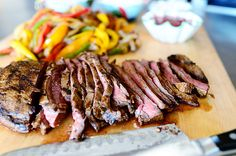Beef Fajitas by Ree Drummond / The Pioneer Woman, via Flickr.  used two flank steaks to feed about 7 to 8.  also only used 3 peppers & 1 onion.