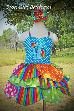Hey, I found this really awesome Etsy listing at https://www.etsy.com/listing/204301982/rainbow-dash-dress-my-little-pony