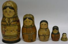 EXTREMELY RARE Vintage Antique Set of 5 Wooden Russian Nesting Stacking Dolls, $300.00