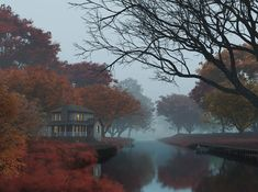 Foggy autumn on Behance Cinematography, Architecture Art, Art Direction, Fields, Behance, Autumn, Building, Water, Outdoor