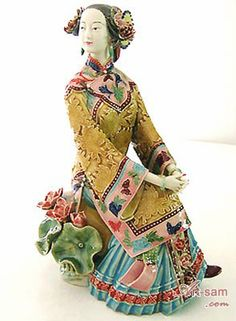 Master Ceramic / Porcelain Lady Figurine - Oriental Lady : Art-sam.com