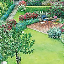 Ein neuer Sitzplatz in der Gartenecke   Betonsteine, Blumenbeete und ...