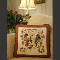 Crewel Pillows : Crewel Pillow Mellerstain Parrots Multi Cotton Duck (16x16)