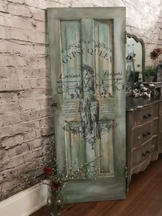 IOD image transfer on antique door. Shabby Chic Interiors, Shabby Chic Homes, Shabby Chic Furniture, Shabby Chic Decor, Furniture Decor, Painted Furniture, Discount Bedroom Furniture, Best Leather Sofa, Iron Orchid Designs