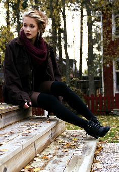 Fall look / grunge / soft grunge Looks Street Style, Looks Style, Style Me, Fall Winter Outfits, Autumn Winter Fashion, Autumn Style, Autumn Fall, Deep Autumn, Look Boho Chic
