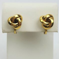 Monet vintage clip-on earrings gold-plated love knots soft-close backs #Monet