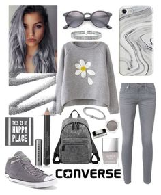 """""""Grey"""" by mandimwpink ❤ liked on Polyvore featuring Bling Jewelry, Recover, AG Adriano Goldschmied, Converse, Ray-Ban, Burberry, John Hardy, Clarins, Marc Jacobs and Pier 1 Imports"""