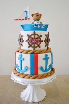 A nautical themed birthday cake