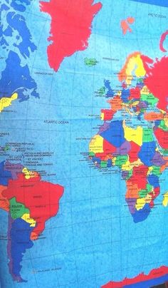 World Map Fabric Panel 33 x 57 In Cotton Primary Colors Fabric Traditions School #FabricTraditions