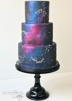Age of Aquarius birthday cake by The Butter End Cakery , Beautiful Cakes, Amazing Cakes, Star Wars Torte, Aquarius Birthday, Vanilla Bean Cakes, Galaxy Wedding, Galaxy Cake, Starry Night Wedding, Celestial Wedding