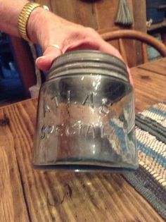 early Atlas short fat pint canning jar rare wide mouth primitive old blue jelly