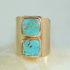 Turquoise and gold statement ring