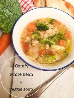 This easy to prepare gluten-free soup, is full of delicious veggies, creamy buttery white beans, in a warm soothing vegetable broth. Best Soup Recipes, Vegan Recipes, Dinner Recipes, Cooking Recipes, Kitchen Recipes, Sweet Recipes, Gluten Free Soup, Veggie Soup, White Beans