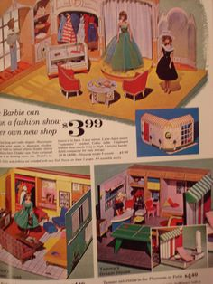 Barbie Fashion Shop, Barbie's Dream House and Tammy's Ideal House from a Catalog Barbie Doll House, Barbie Dream House, Barbie I, Vintage Barbie Dolls, Barbie World, Barbie And Ken, Barbie Clothes, Girls Dollhouse, Dollhouse Dolls