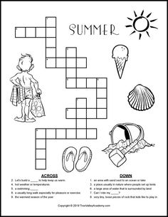Printable Weather Forecast Crossword Puzzle in 2020