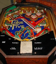"""Allied Leisure's """"Take Five"""" pinball cocktail table. These never took off in the 70's but I really want one!!"""