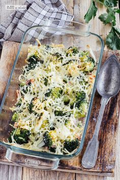 Gratín de brócoli con tocino. Receta