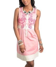 Take a look at the 24|7 Frenzy Pink & White Embroidered Sleeveless Dress - Women on #zulily today!