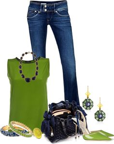 """""""Green and Navy"""" by lilpudget ❤ liked on Polyvore"""