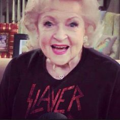 .betty white sporting that slayer yasssssss