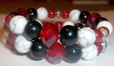 Wrap BraceletBlack Red and White by waterflowingwest on Etsy, $15.00
