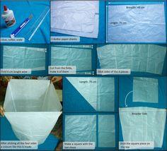 Sky lantern: step 1, making paper balloon
