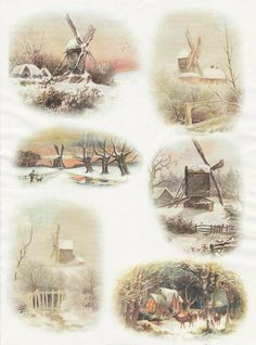 Rice Paper for Decoupage Decopatch Scrapbook Craft Sheet Vintage Winter Mills