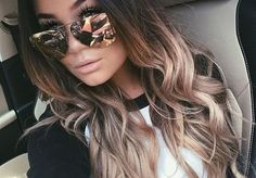 Brown To Blonde Ombre With Loose Waves And Sunglasses