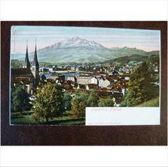 Switzerland Lucern Pilatus Louis Glaser 1867 colour postcard Luzern mountains