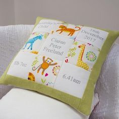 Jungle Memory Cushion by Tuppenny House Designs, the perfect gift for Explore more unique gifts in our curated marketplace. Patchwork Cushion, Handmade Cushions, Baby Memories, Special Birthday, Kid Names, Natural Linen, Gender Neutral, Baby Gifts, New Baby Products