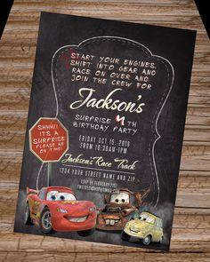 Disney's Cars Birthday Invitation Lightning by Twelve24Shop