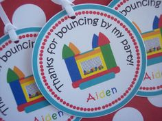 12 Bounce House Party Favor Tags  Bounce House by kidEprints, $5.99