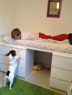 Stylist Emily Henson shows how she turned two sets of drawers into a raised bed for & IKEA Hackers: bedroom. Loft storage bed from cheap IKEA furniture ...