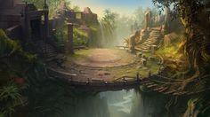 My Fantasy World, Fantasy Places, Fantasy Male, Fantasy Art Landscapes, Fantasy Landscape, Landscape Art, Jungle Temple, Fantasy Setting, Environment Concept Art
